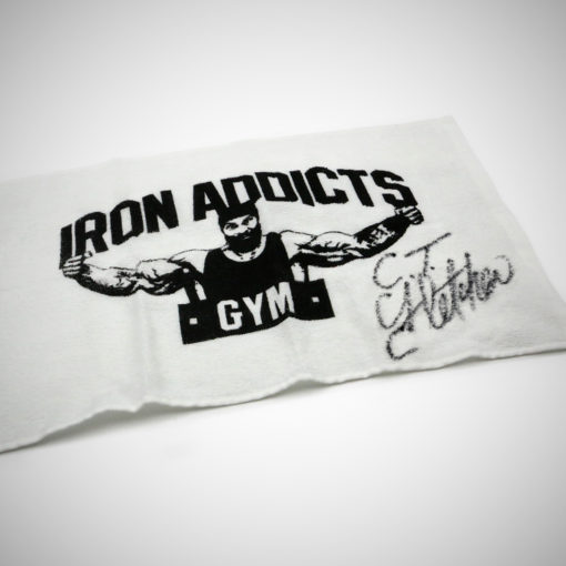 IRON ADDICTS GYM TOWEL - SIGNED BY C.T.